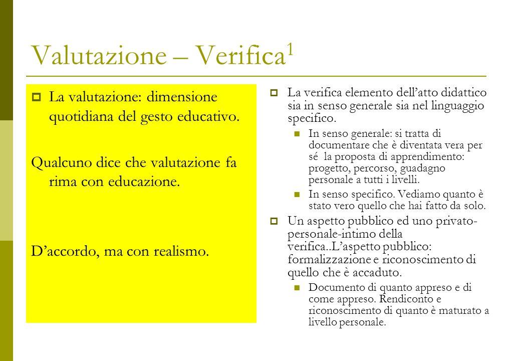Valutazione – Verifica 1  La valutazione: dimensione quotidiana del gesto educativo.