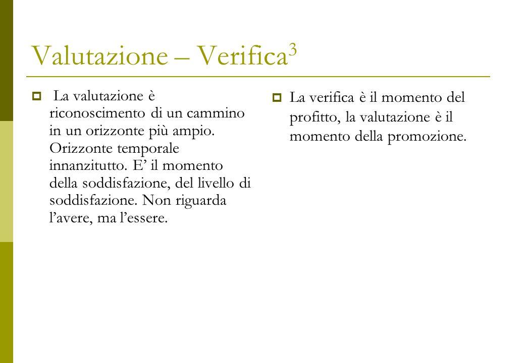 Valutazione – Verifica 3  La valutazione è riconoscimento di un cammino in un orizzonte più ampio.