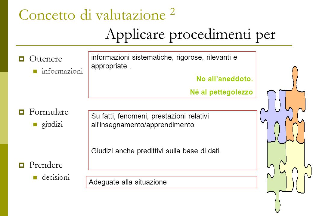 Concetto di valutazione 2 Applicare procedimenti per  Ottenere informazioni  Formulare giudizi  Prendere decisioni informazioni sistematiche, rigorose, rilevanti e appropriate.