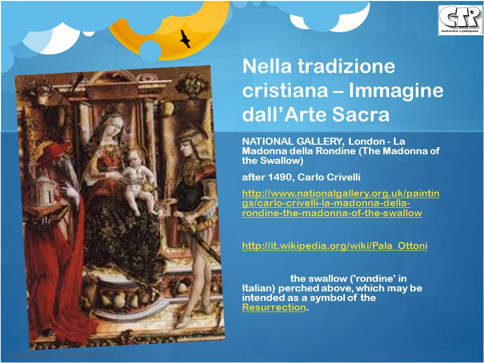 Nella tradizione cristiana – Immagine dall'Arte Sacra NATIONAL GALLERY, London - La Madonna della Rondine (The Madonna of the Swallow) after 1490, Car