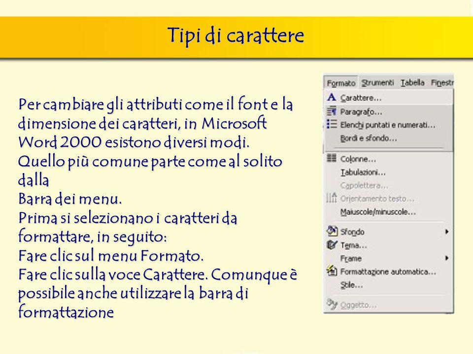 Tipi di carattere finestra di dialogo Nuovo, nella quale si può scegliere sia il documento vuoto, sia un altro documento tipo, da scegliere tra i mode