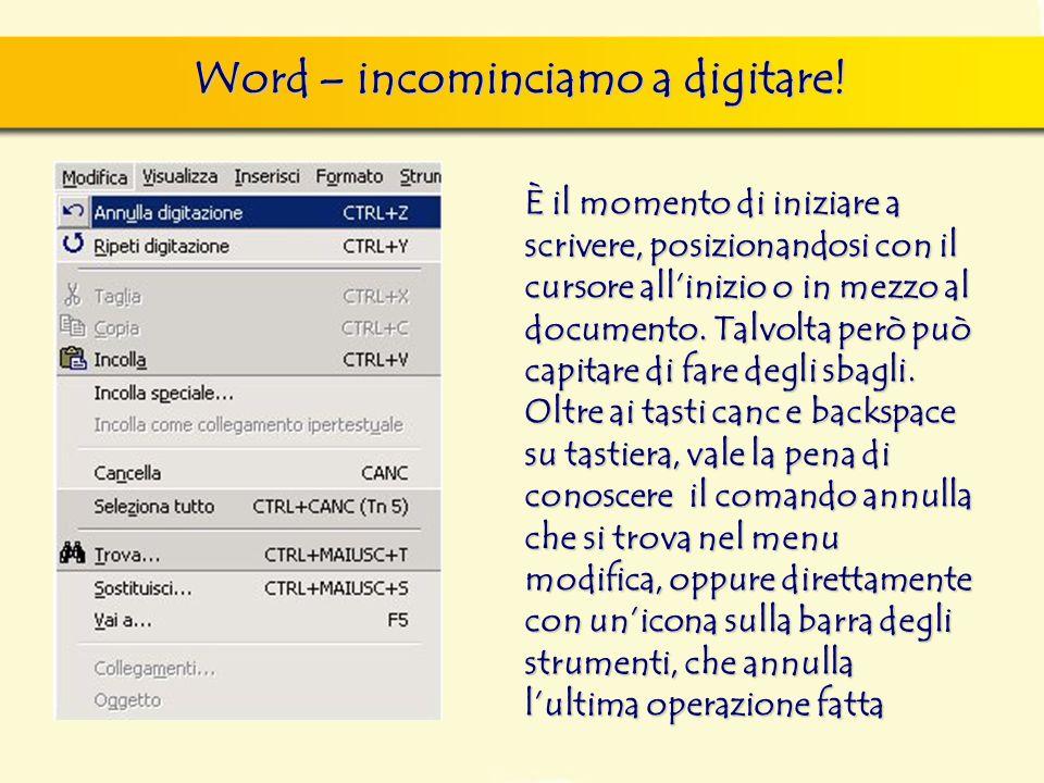 Word – incominciamo a digitare.