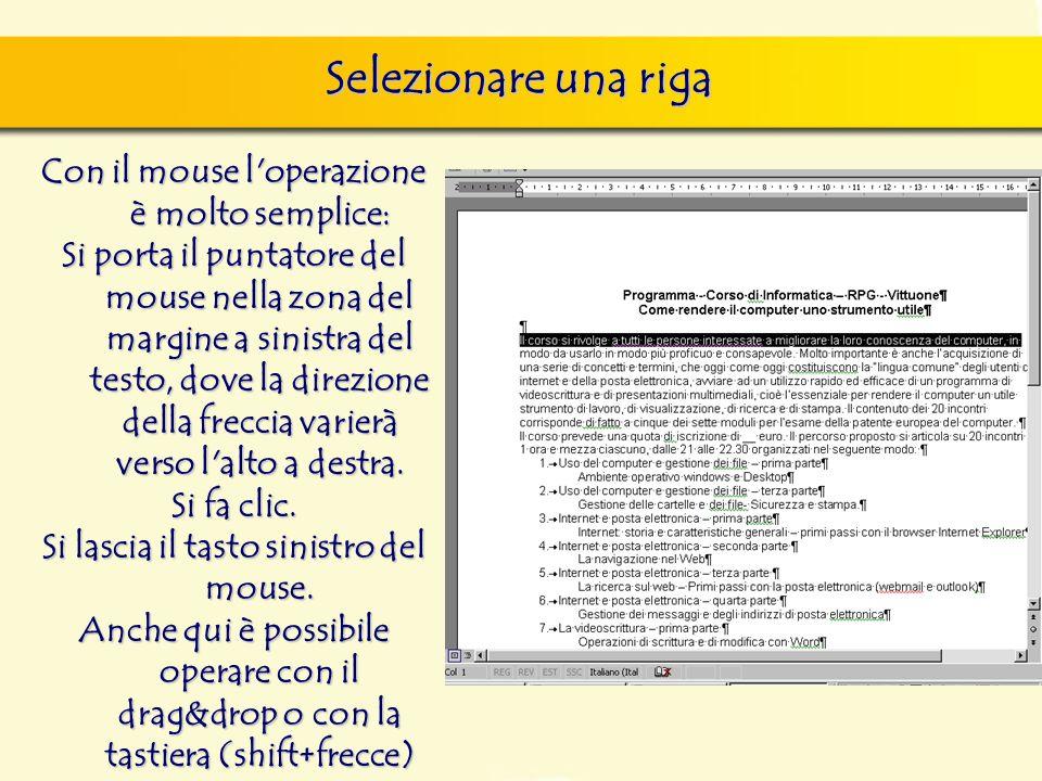 Con il mouse l'operazione è molto semplice: Si porta il puntatore del mouse nella zona del margine a sinistra del testo, dove la direzione della frecc