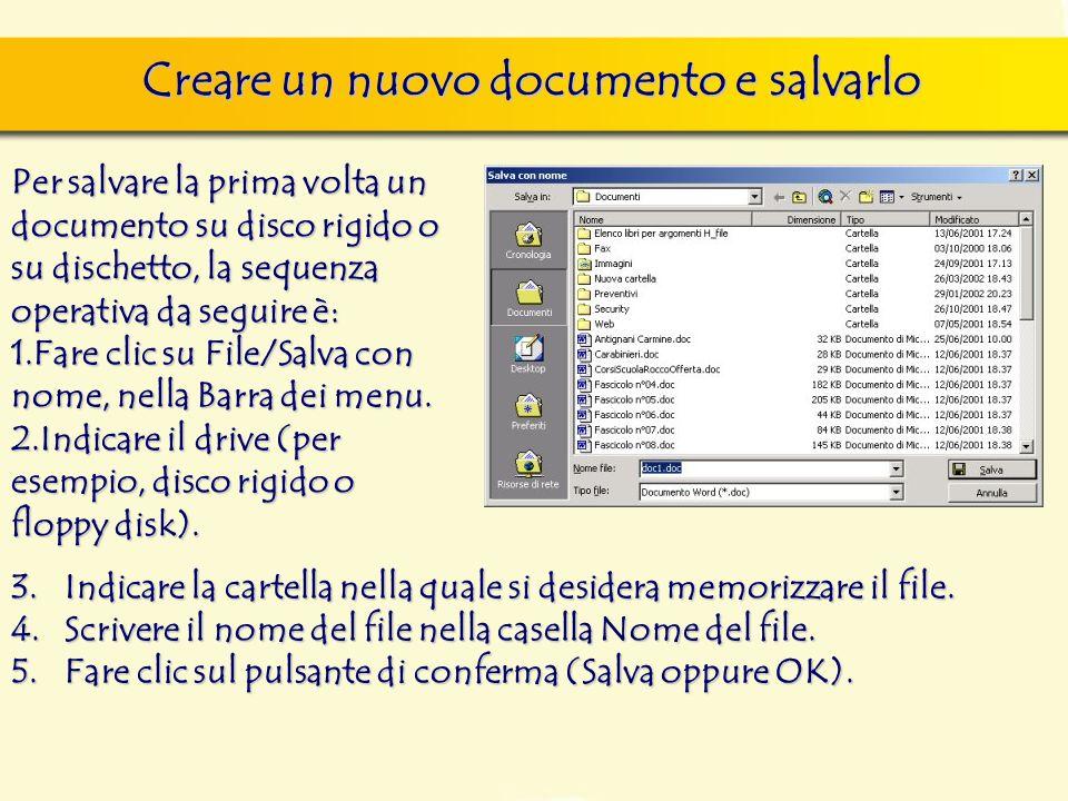 Creare un nuovo documento e salvarlo finestra di dialogo Nuovo, nella quale si può scegliere sia il documento vuoto, sia un altro documento tipo, da s
