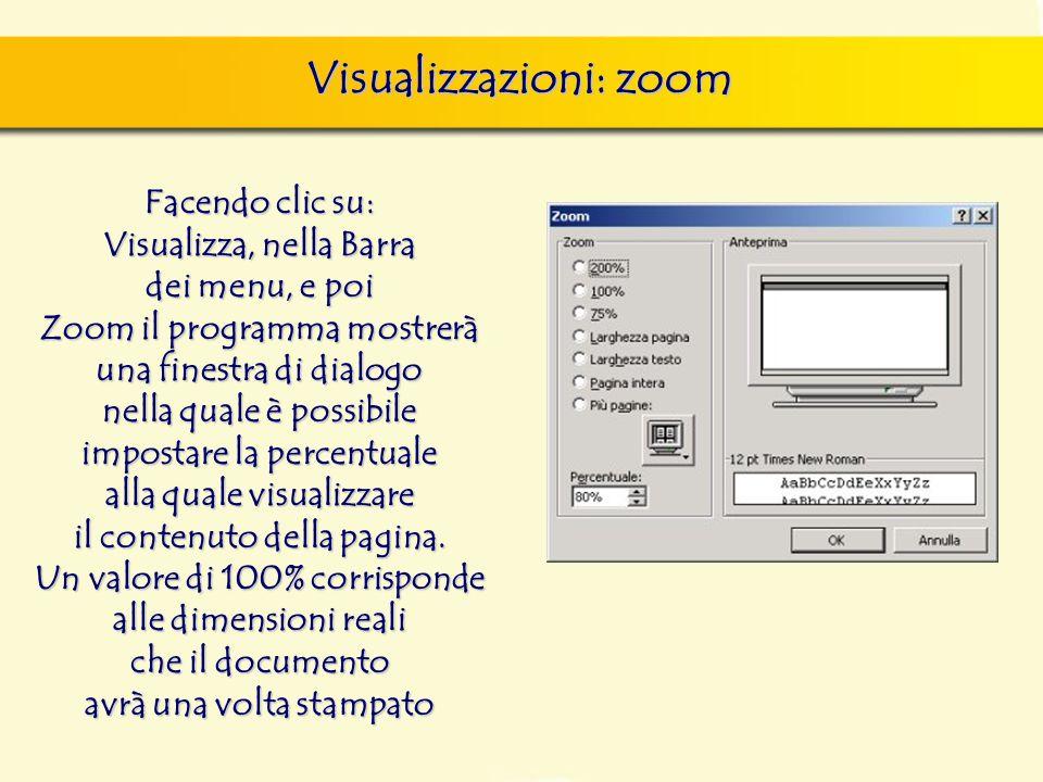 Visualizzazioni: zoom finestra di dialogo Nuovo, nella quale si può scegliere sia il documento vuoto, sia un altro documento tipo, da scegliere tra i