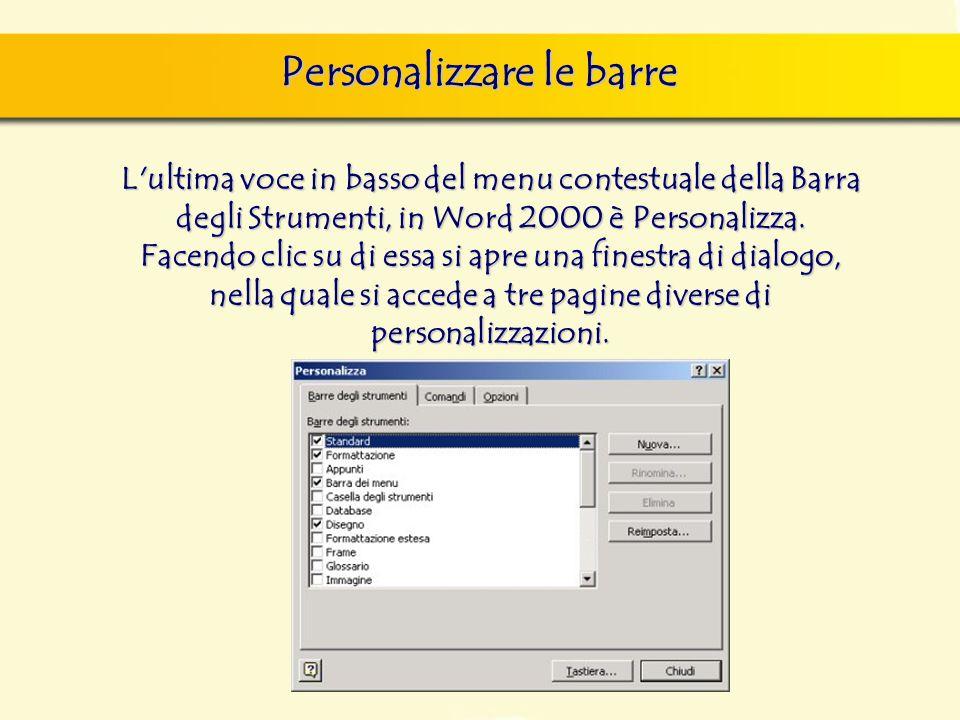 Personalizzare le barre finestra di dialogo Nuovo, nella quale si può scegliere sia il documento vuoto, sia un altro documento tipo, da scegliere tra
