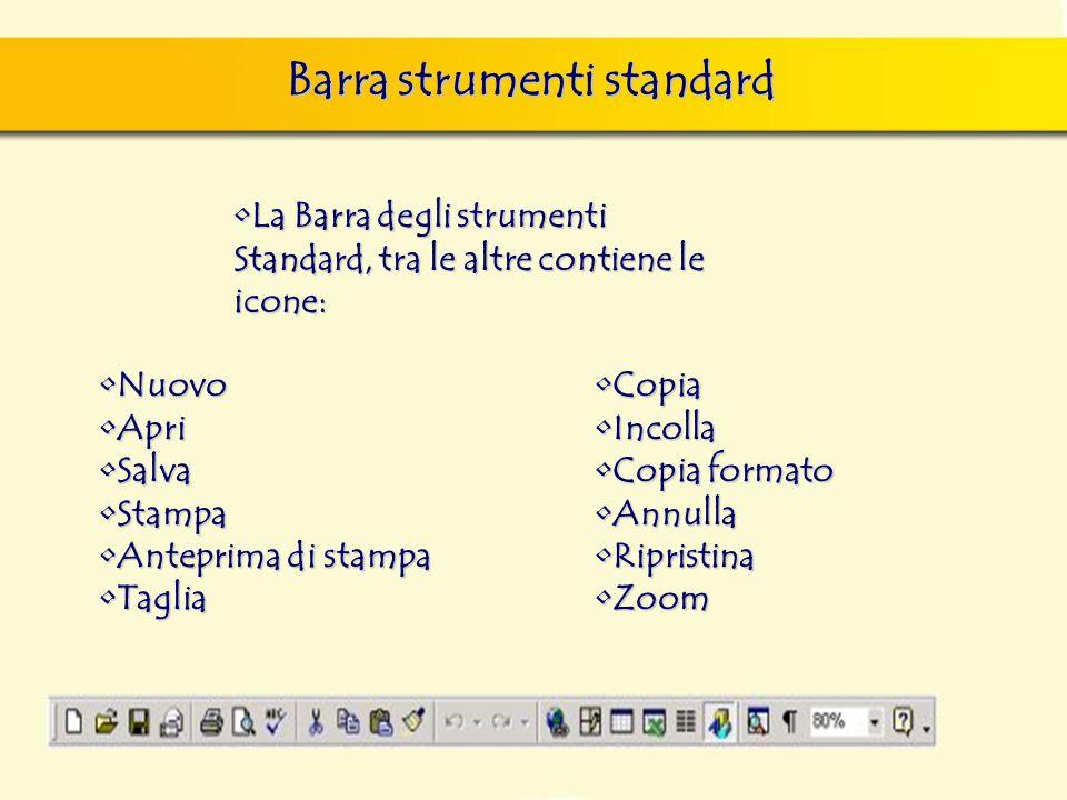 Barra strumenti standard finestra di dialogo Nuovo, nella quale si può scegliere sia il documento vuoto, sia un altro documento tipo, da scegliere tra