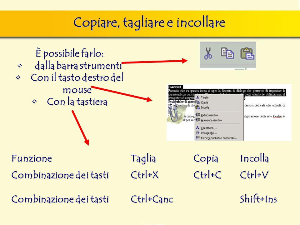 È possibile farlo: dalla barra strumenti dalla barra strumenti Con il tasto destro del mouseCon il tasto destro del mouse Con la tastieraCon la tastiera Copiare, tagliare e incollare FunzioneTagliaCopiaIncolla Combinazione dei tasti Ctrl+XCtrl+CCtrl+V Ctrl+CancShift+Ins