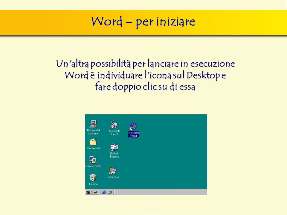 Word – per iniziare Un'altra possibilità per lanciare in esecuzione Word è individuare l'icona sul Desktop e fare doppio clic su di essa