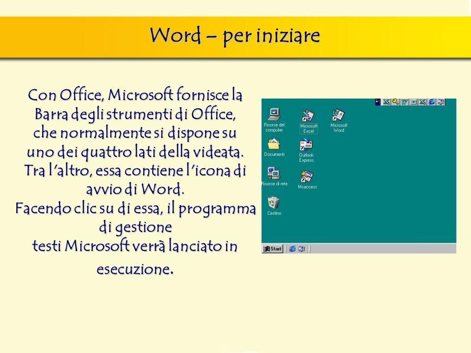 Word – per iniziare Con Office, Microsoft fornisce la Barra degli strumenti di Office, che normalmente si dispone su uno dei quattro lati della videata.