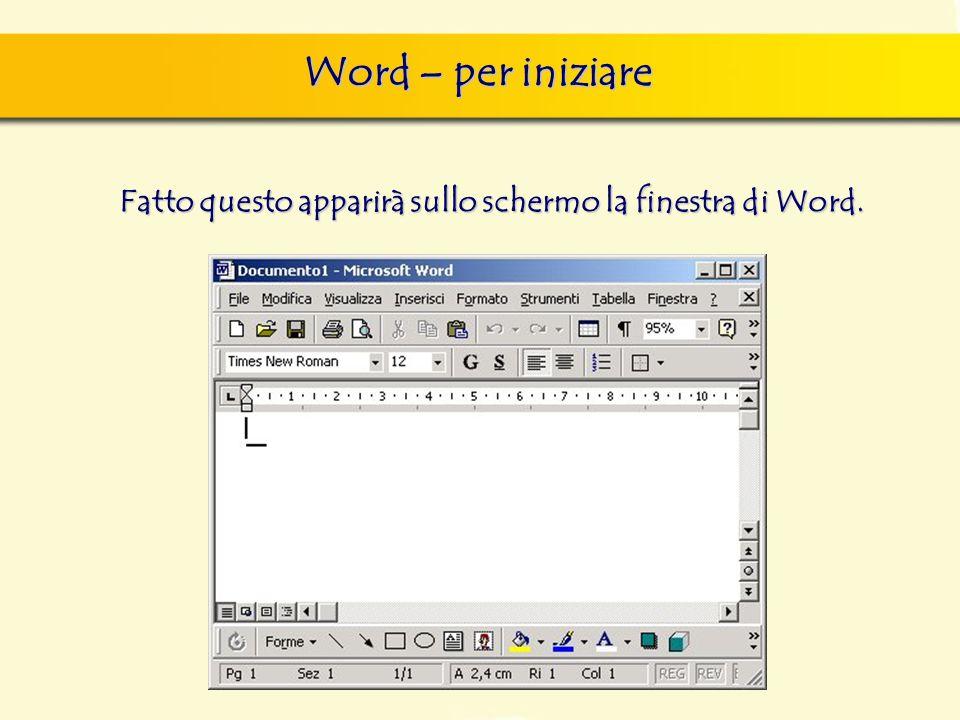 Word – per iniziare Fatto questo apparirà sullo schermo la finestra di Word.
