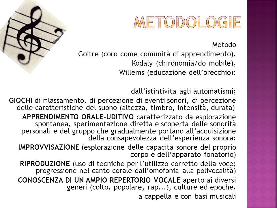 Metodo Goitre (coro come comunità di apprendimento), Kodaly (chironomia/do mobile), Willems (educazione dell'orecchio): dall'istintività agli automati