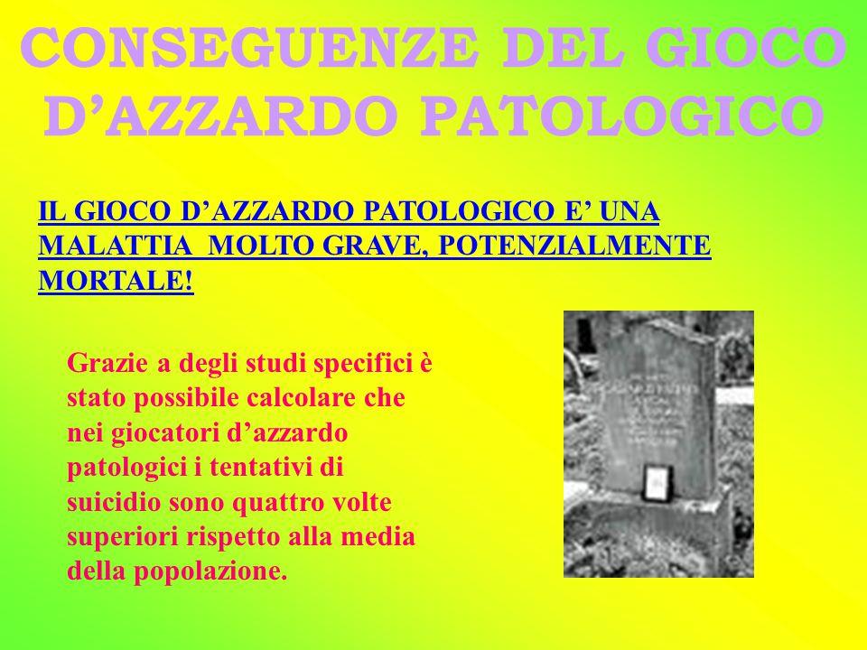 SINTOMI DEL GIOCO D'AZZARDO PATOLOGICO SINTOMIASTINENZA PSICHICIFISICISOCIALI Nervosismo, Inquietudine Tremori Nausea Insonnia