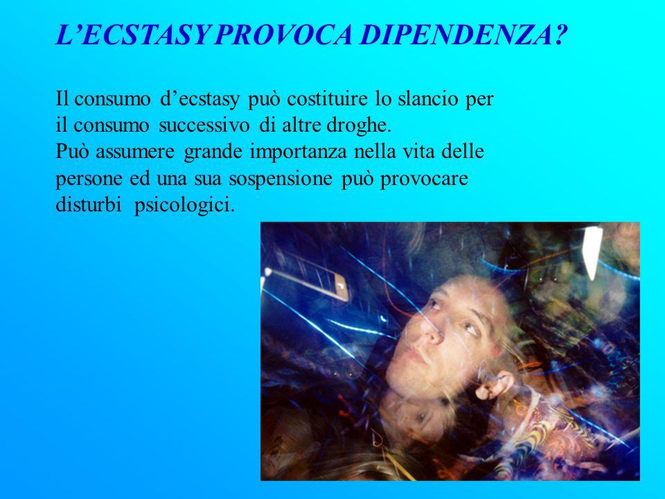 COS'È L'ECSTASY L'ecstasy è la combinazione tra una droga allucinogena ed una anfetamina. È una polvere cristallina bianca, che può essere sniffata, f