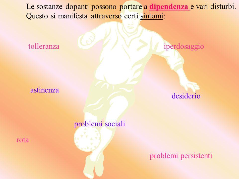 Sostanze usate durante gli allenamenti perché richiedono settimane per produrre i loro effetti (anabolizzanti). Il testosterone è il prototipo di ques