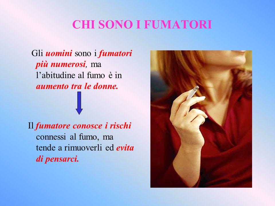 CHI SONO I FUMATORI Gli uomini sono i fumatori più numerosi, ma l'abitudine al fumo è in aumento tra le donne.