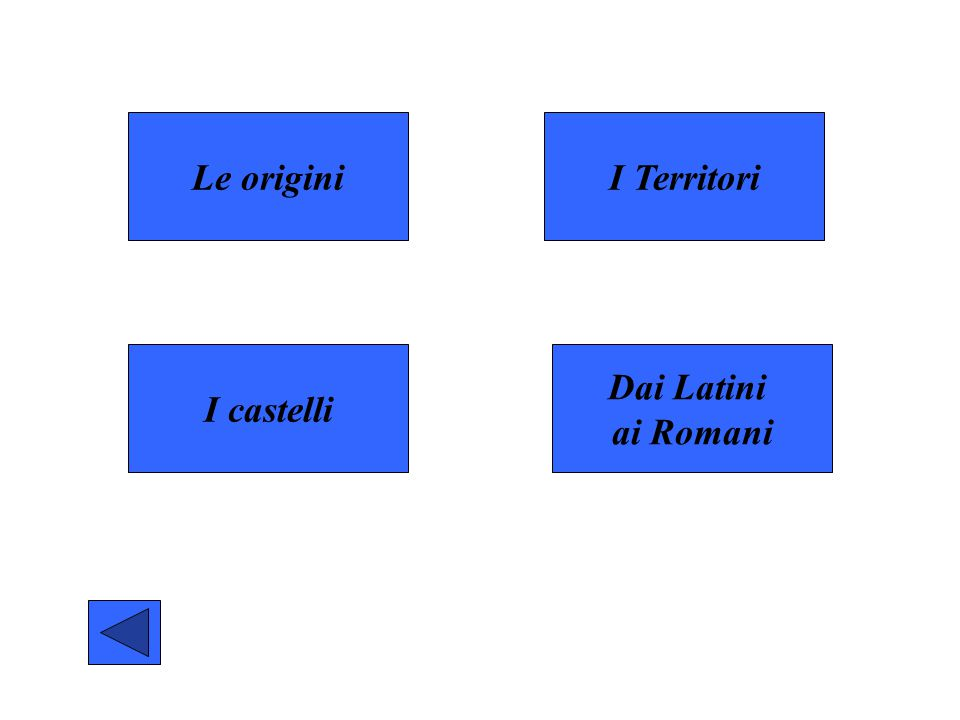 Le origini I castelli Dai Latini ai Romani I Territori