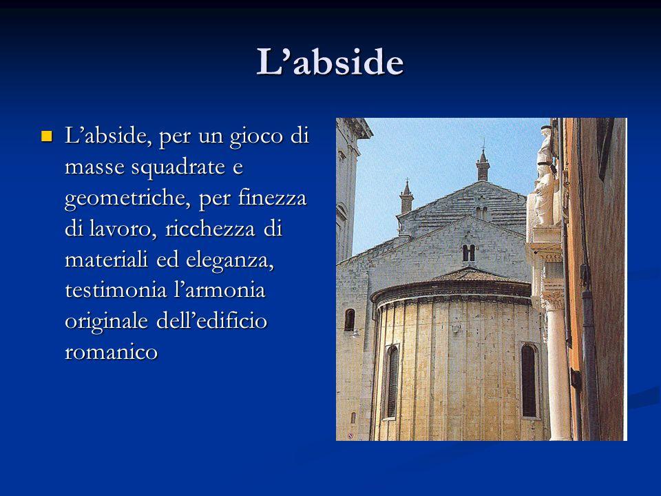 L'abside L'abside, per un gioco di masse squadrate e geometriche, per finezza di lavoro, ricchezza di materiali ed eleganza, testimonia l'armonia orig