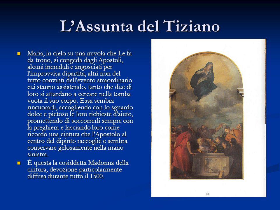 L'Assunta del Tiziano Maria, in cielo su una nuvola che Le fa da trono, si congeda dagli Apostoli, alcuni increduli e angosciati per l'improvvisa dipa