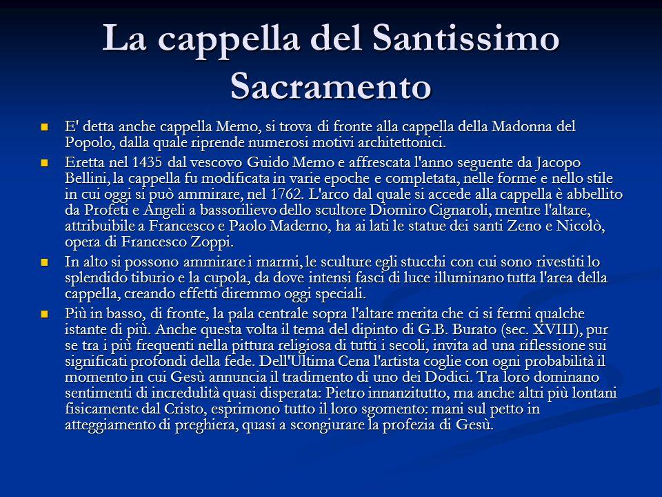La cappella del Santissimo Sacramento E detta anche cappella Memo, si trova di fronte alla cappella della Madonna del Popolo, dalla quale riprende numerosi motivi architettonici.