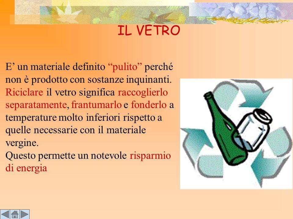 """IL VETRO E' un materiale definito """"pulito"""" perché non è prodotto con sostanze inquinanti. Riciclare il vetro significa raccoglierlo separatamente, fra"""
