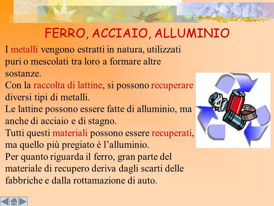 FERRO, ACCIAIO, ALLUMINIO I metalli vengono estratti in natura, utilizzati puri o mescolati tra loro a formare altre sostanze. Con la raccolta di latt