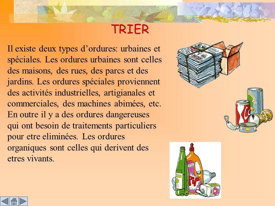 TRIER Il existe deux types d'ordures: urbaines et spéciales. Les ordures urbaines sont celles des maisons, des rues, des parcs et des jardins. Les ord