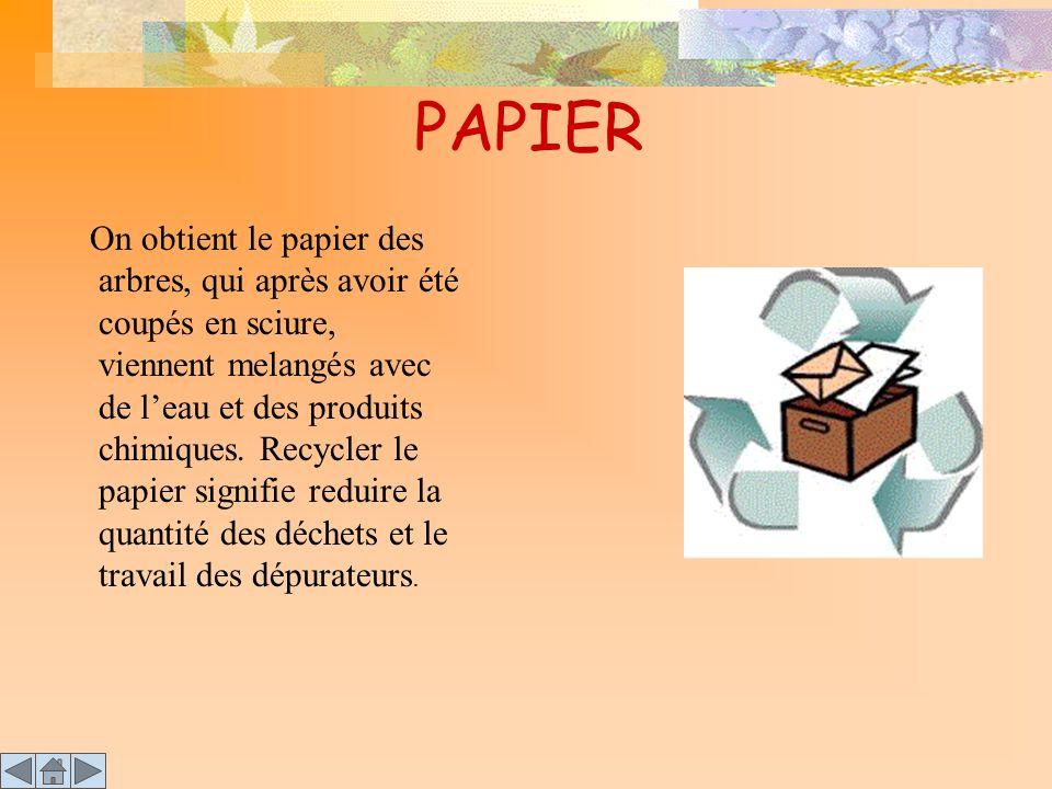 PAPIER On obtient le papier des arbres, qui après avoir été coupés en sciure, viennent melangés avec de l'eau et des produits chimiques. Recycler le p