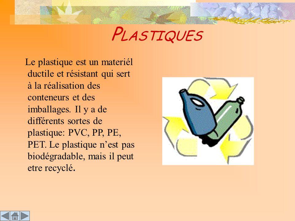 P LASTIQUES Le plastique est un materiél ductile et résistant qui sert à la réalisation des conteneurs et des imballages. Il y a de différents sortes