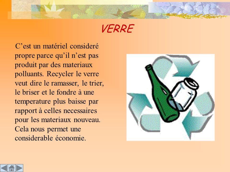 VERRE C 'est un matériel consideré propre parce qu'il n'est pas produit par des materiaux polluants. Recycler le verre veut dire le ramasser, le trier