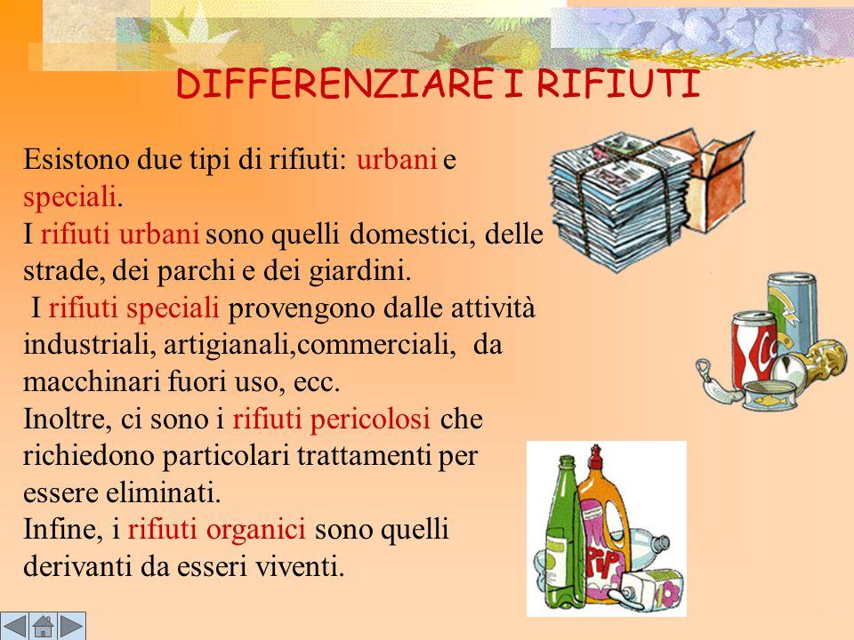 DIFFERENZIARE I RIFIUTI Esistono due tipi di rifiuti: urbani e speciali.