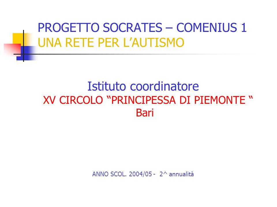 PROGETTO SOCRATES – COMENIUS 1 UNA RETE PER L'AUTISMO Istituto coordinatore XV CIRCOLO PRINCIPESSA DI PIEMONTE Bari ANNO SCOL.