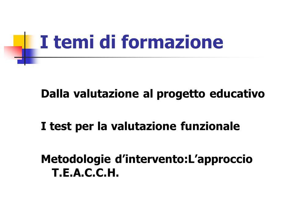 I temi di formazione Dalla valutazione al progetto educativo I test per la valutazione funzionale Metodologie d'intervento:L'approccio T.E.A.C.C.H.