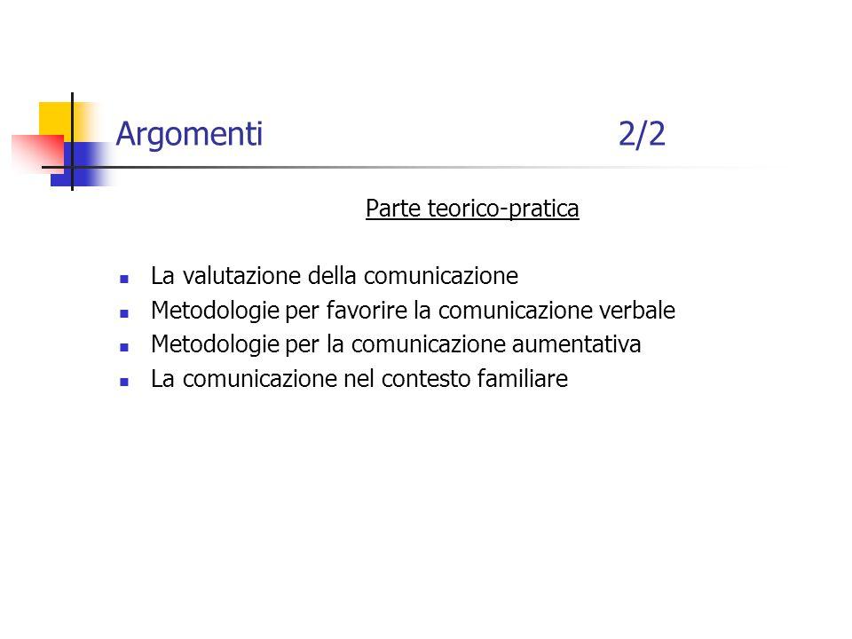 Argomenti 2/2 Parte teorico-pratica La valutazione della comunicazione Metodologie per favorire la comunicazione verbale Metodologie per la comunicazione aumentativa La comunicazione nel contesto familiare