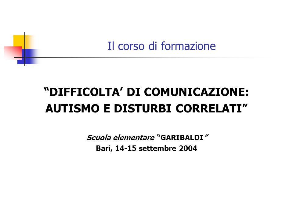Il corso di formazione DIFFICOLTA' DI COMUNICAZIONE: AUTISMO E DISTURBI CORRELATI Scuola elementare GARIBALDI Bari, 14-15 settembre 2004