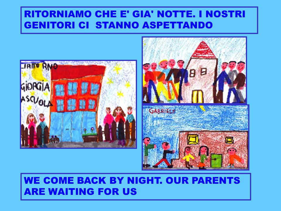 RITORNIAMO CHE E' GIA' NOTTE. I NOSTRI GENITORI CI STANNO ASPETTANDO WE COME BACK BY NIGHT. OUR PARENTS ARE WAITING FOR US