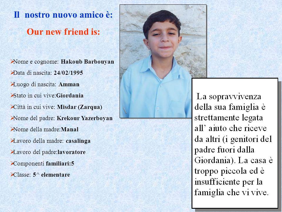 Il nostro nuovo amico è: Our new friend is:  Nome e cognome: Hakoub Barbouyan  Data di nascita: 24/02/1995  Luogo di nascita: Amman  Stato in cui