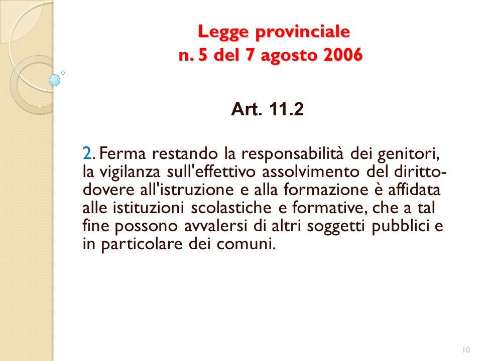 Legge provinciale n. 5 del 7 agosto 2006 Legge provinciale n. 5 del 7 agosto 2006 Art. 11.2 2. Ferma restando la responsabilità dei genitori, la vigil
