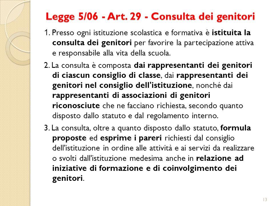Legge 5/06 - Art. 29 - Consulta dei genitori 1. Presso ogni istituzione scolastica e formativa è istituita la consulta dei genitori per favorire la pa