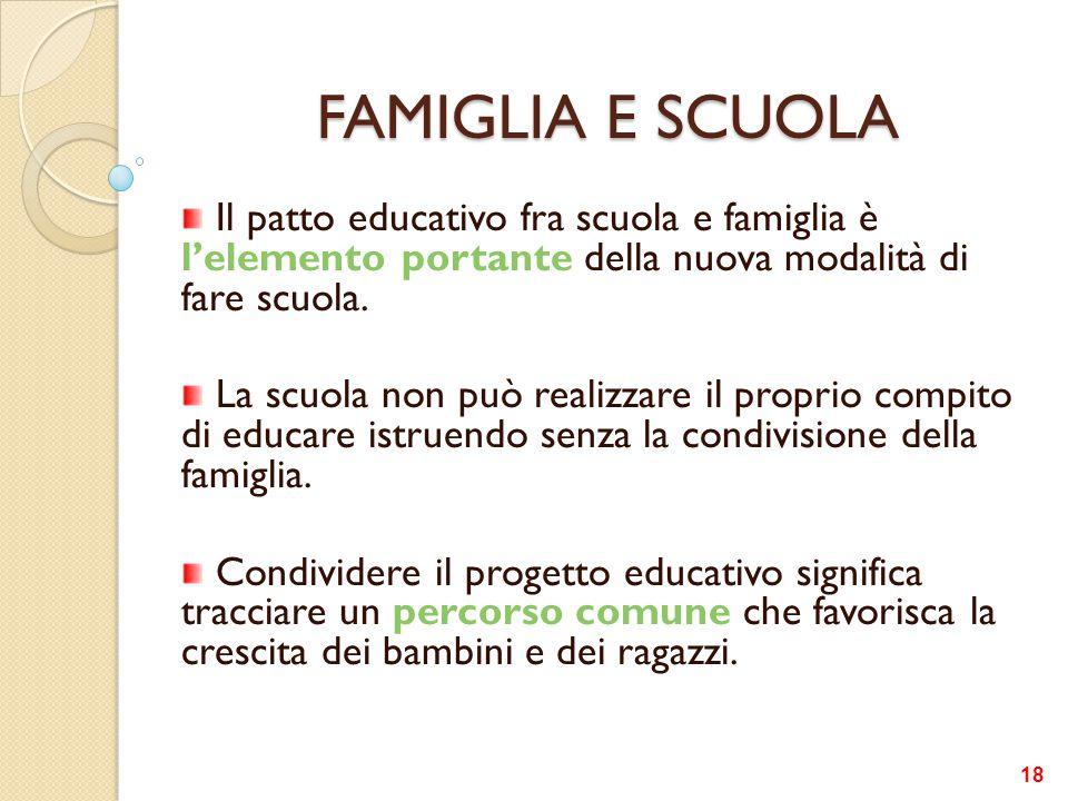 FAMIGLIA E SCUOLA Il patto educativo fra scuola e famiglia è l'elemento portante della nuova modalità di fare scuola. La scuola non può realizzare il