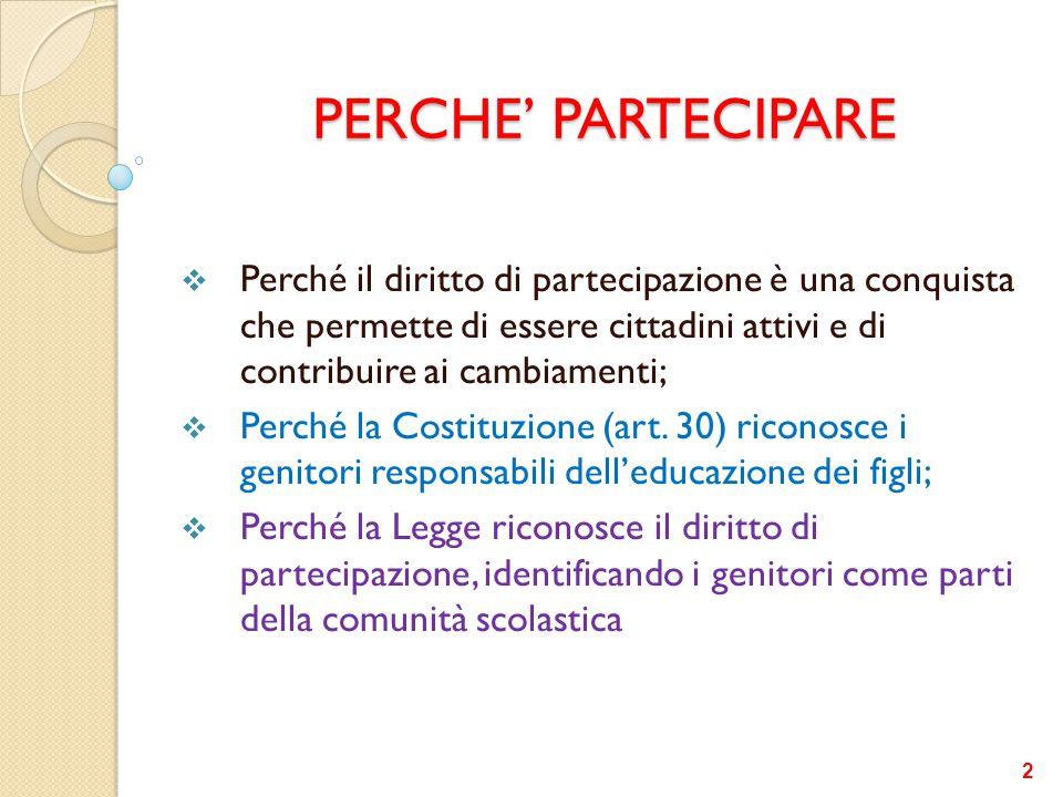 PERCHE' PARTECIPARE  Perché il diritto di partecipazione è una conquista che permette di essere cittadini attivi e di contribuire ai cambiamenti;  P