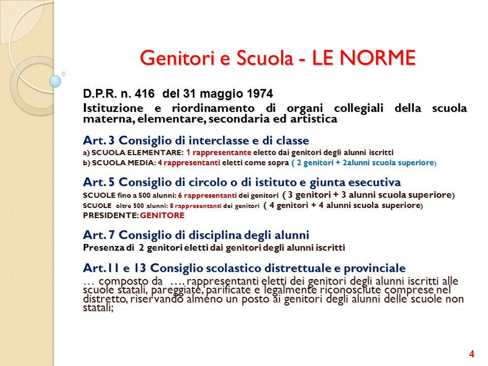 Genitori e Scuola - LE NORME (A) Decreto legislativo n.