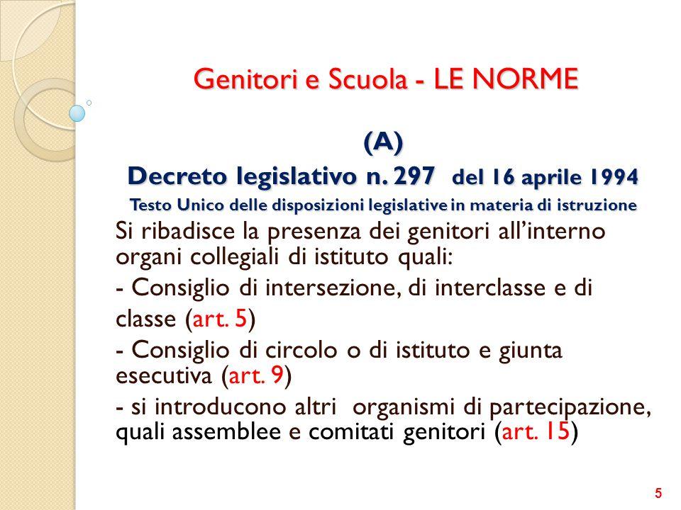 Genitori e Scuola - LE NORME (A) Decreto legislativo n. 297 del 16 aprile 1994 Testo Unico delle disposizioni legislative in materia di istruzione Si