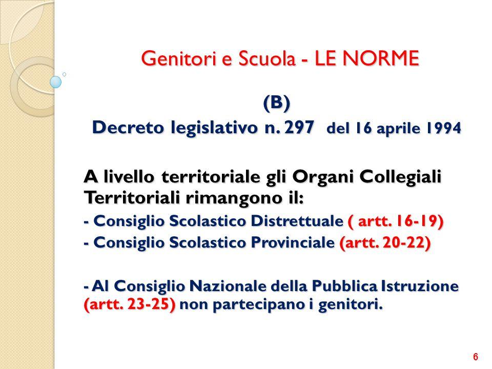 Genitori e Scuola - LE NORME (B) Decreto legislativo n. 297 del 16 aprile 1994 A livello territoriale gli Organi Collegiali Territoriali rimangono il: