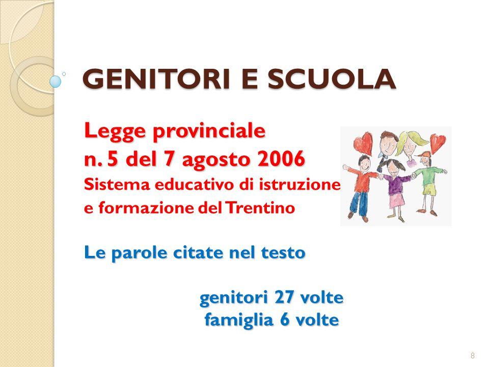 GENITORI E SCUOLA Legge provinciale n. 5 del 7 agosto 2006 Sistema educativo di istruzione e formazione del Trentino Le parole citate nel testo genito