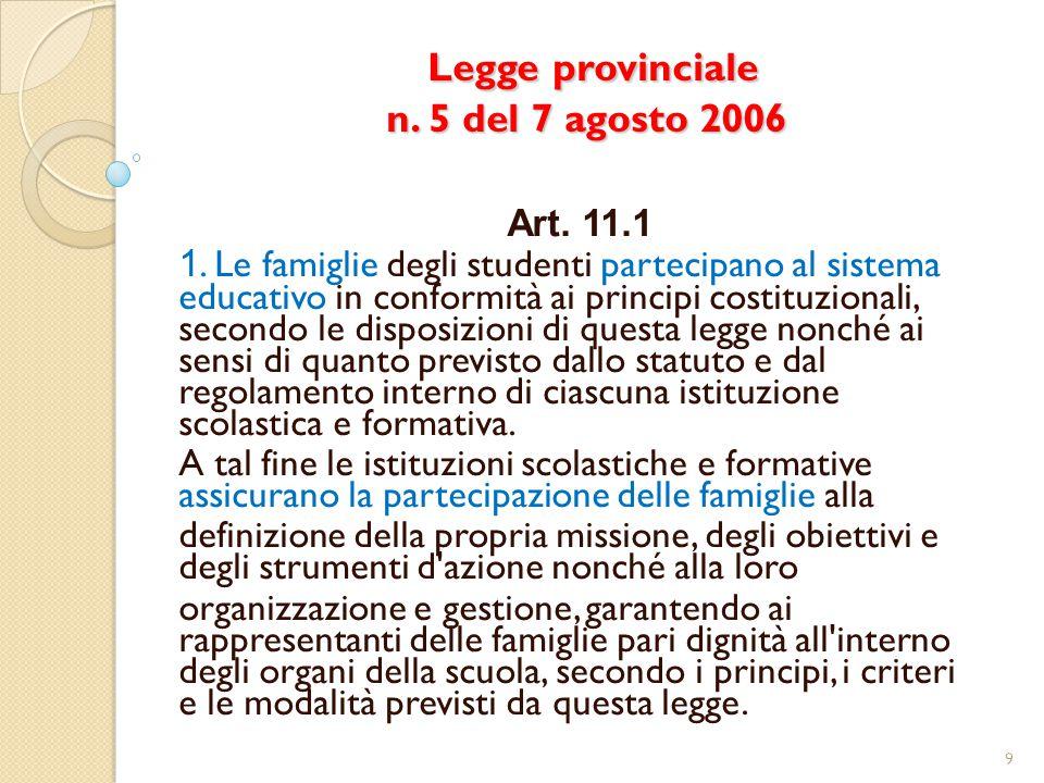 Legge provinciale n. 5 del 7 agosto 2006 Legge provinciale n. 5 del 7 agosto 2006 Art. 11.1 1. Le famiglie degli studenti partecipano al sistema educa