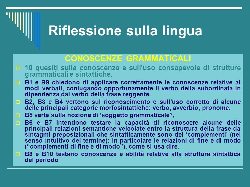 Riflessione sulla lingua CONOSCENZE GRAMMATICALI  10 quesiti sulla conoscenza e sull'uso consapevole di strutture grammaticali e sintattiche.  B1 e