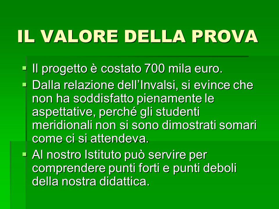 IL VALORE DELLA PROVA  Il progetto è costato 700 mila euro.  Dalla relazione dell'Invalsi, si evince che non ha soddisfatto pienamente le aspettativ