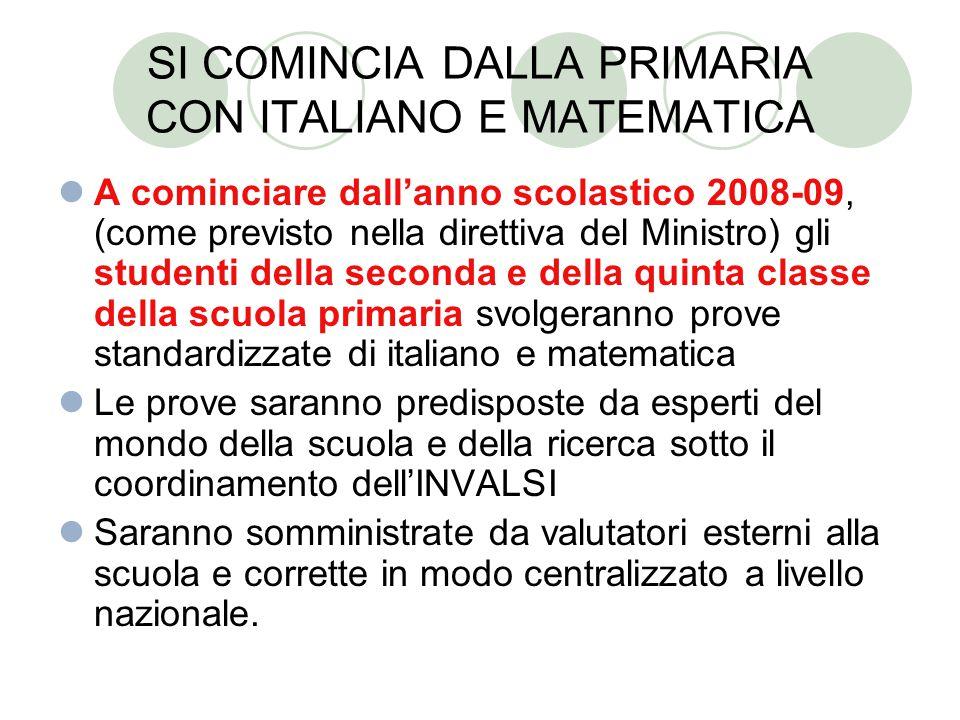 SI COMINCIA DALLA PRIMARIA CON ITALIANO E MATEMATICA A cominciare dall'anno scolastico 2008-09, (come previsto nella direttiva del Ministro) gli stude