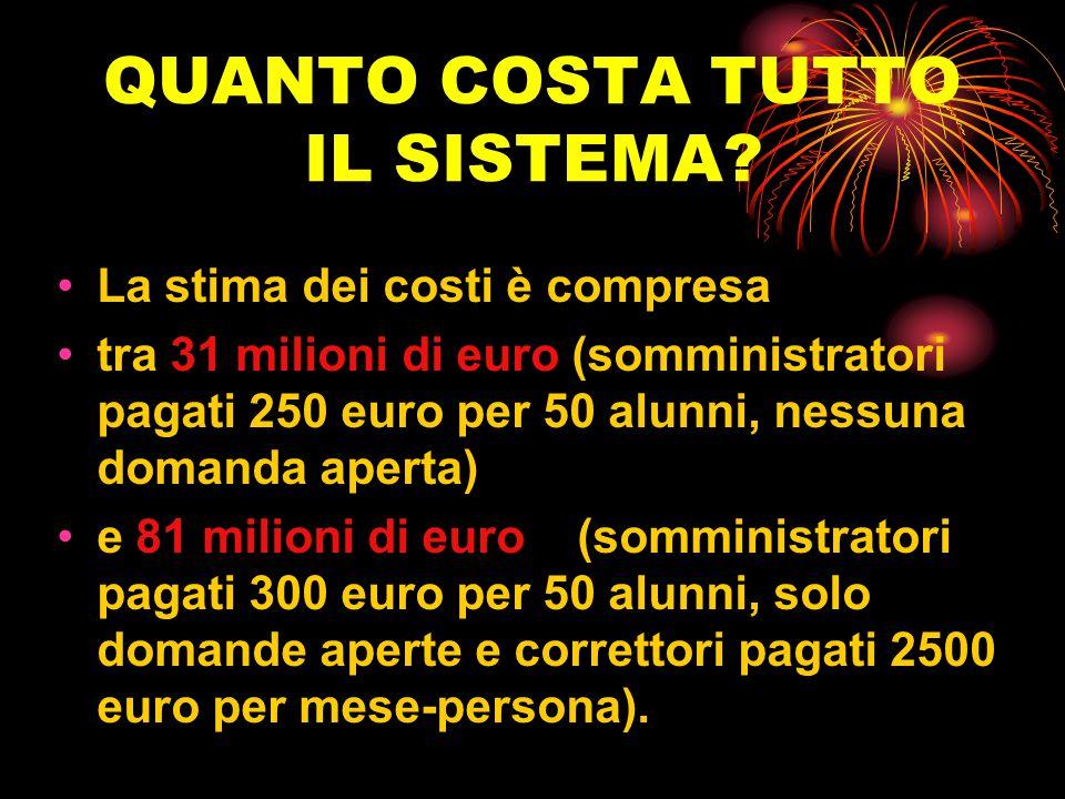QUANTO COSTA TUTTO IL SISTEMA? La stima dei costi è compresa tra 31 milioni di euro (somministratori pagati 250 euro per 50 alunni, nessuna domanda ap